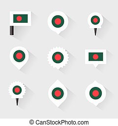 bangladesh flag and pins for infographic, and map design