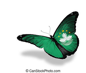 Bangladesh flag butterfly flying, isolated on white background