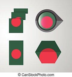 Bangladesh flag design set vector