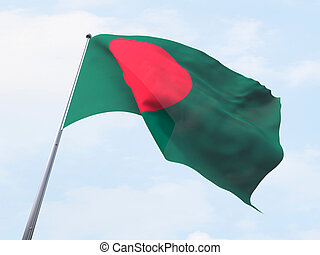 Bangladesh flag flying on clear sky.
