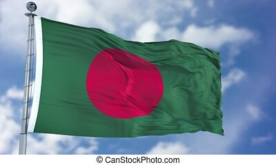 Bangladesh Flag in a Blue Sky