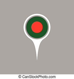Bangladesh flag location map icon , Vector illustration.