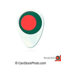 Bangladesh flag location map pin icon on white background.