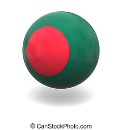 National flag of Bangladesh on sphere isolated on white background