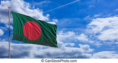 Bangladesh flag on a blue sky background. 3d illustration