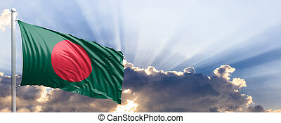 Bangladesh flag on blue sky. 3d illustration