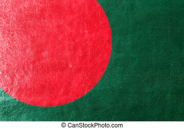 Bangladesh Flag painted on leather texture