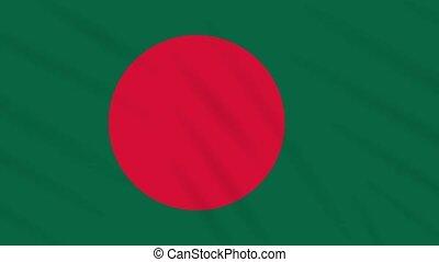 Bangladesh flag waving cloth background, loop