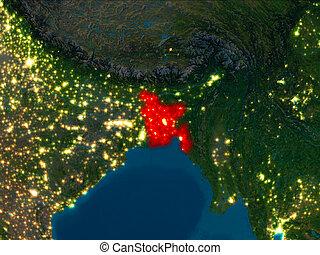 Bangladesh in red at night