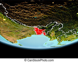 Bangladesh in red in the evening