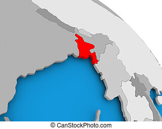 Bangladesh in red on map