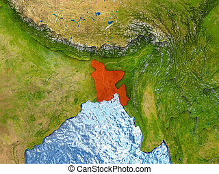 Bangladesh in red