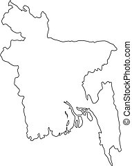 Bangladesh linear map on a white background. Vector...