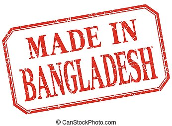 Bangladesh - made in red vintage isolated label