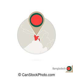 Bangladesh map and flag in circle. Map of Bangladesh, Bangladesh flag pin. Map of Bangladesh in the style of the globe.
