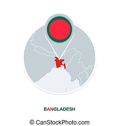 Bangladesh map and flag, vector map icon with highlighted Bangladesh
