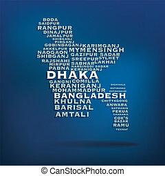 Bangladesh map concept - Bangladesh map made with name of...