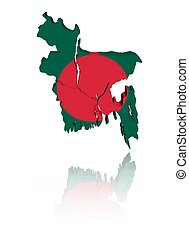 Bangladesh map flag with reflection