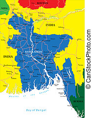 Highly detailed vector map of Bangladesh with administrative regions, main cities and roads.
