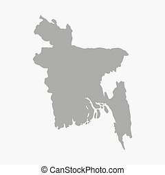 Bangladesh map in gray on a white background - Bangladesh...