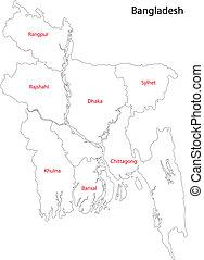 Bangladesh map - Map of administrative divisions of...