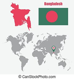 Bangladesh map on a world map with flag and map pointer. Vector illustration