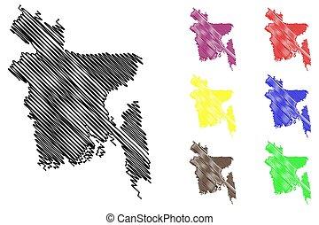 Bangladesh map vector illustration, scribble sketch People's...