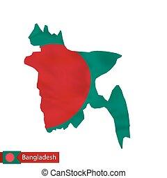 Bangladesh map with waving flag of country.