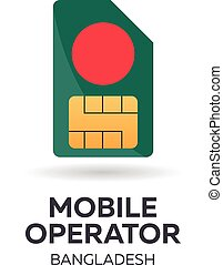 Bangladesh mobile operator. SIM card with flag. Vector illustration.