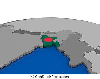 Bangladesh on 3D globe