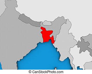 Bangladesh on 3D map