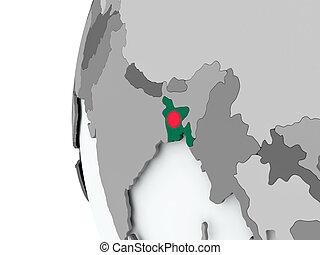 Bangladesh on globe with flag
