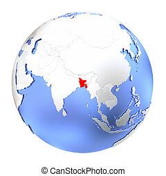Bangladesh on metallic globe isolated