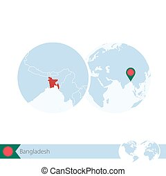 Bangladesh on world globe with flag and regional map of...