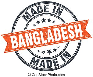 Bangladesh orange grunge ribbon stamp on white