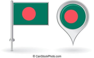 Bangladesh pin icon and map pointer flag. Vector