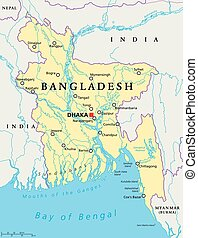 Bangladesh Political Map - Bangladesh political map with...