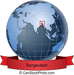 Bangladesh, position on the globe Vector version with separate layers for globe, grid, land, borders, state, frame; fully editable