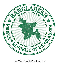Grunge rubber stamp with the name and map of Bangladesh, vector illustration
