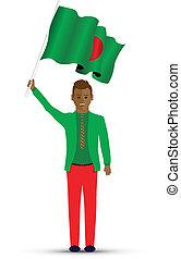 Bangladeshi man waving a flag