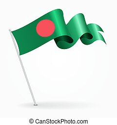 Bangladeshi pin wavy flag. Vector illustration.