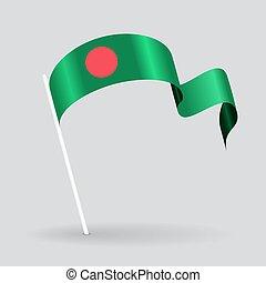 Bangladeshi wavy flag. Vector illustration.