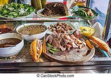 banh, mi, sandwich-, vietnamita, venditore, famoso, carne di maiale, cibo, strada