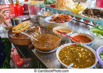 banh, mi, sandwich-, vietnamita, venditore, famoso, cibo, strada