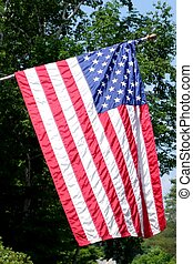 banhado, bandeira americana, luz solar