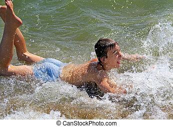 banhar-se, adolescente, mar