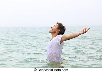 banhar-se, esticar, ams, feliz, praia, homem