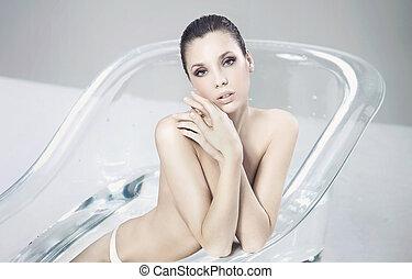 banhar-se, mulher