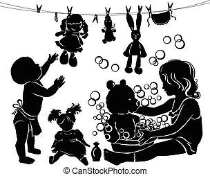 banhar, silueta, crianças, brinquedos