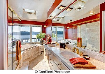 banheira, banheiro, Chuveiro, grande, vidro,  jacuzzi, mestre, luxo,  Interior, Mármore, vermelho